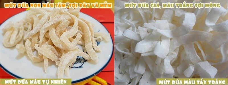 Sự khác biệt giữa mứt dừa non và mứt dừa già